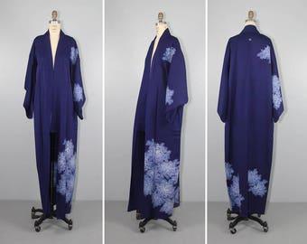 vintage kimono / dressing gown / MIDORI floral silk robe / 1950s