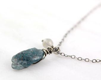 Raw Kyanite and Labradorite Charm Necklace Oxidized Silver