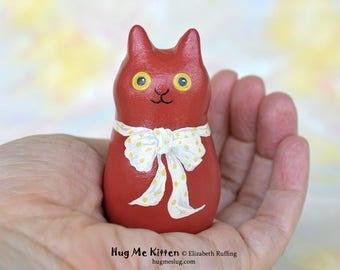 Handmade Kitty Cat Figurine, Miniature Sculpture, Terracotta Red, Yellow, Hug Me Kitten, Animal Totem Charm Figure, Personalized Tag
