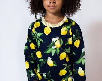 Lemon print long sleeve kids girls baby top Supayana