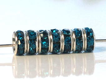 Rhinestone Rondelle Peacock Blue 6mm Silver Plated Spacers 20 pcs.