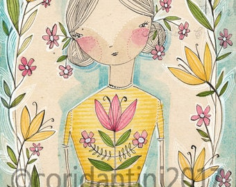Original Watercolor girl with flowers ON SALE