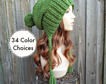Grass Green Chunky Knit Hat Womens Hat - Green Hat Green Beanie Green Slouchy Beanie - Charlotte - Womens Pom Pom Hat - 34 Color Choices