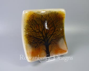 Tree Silhouette at Sunset - Handmade Fused & Painted Glass Trinket Dish - Rowanberry Designs - Painting - Drawing - Art - FA4