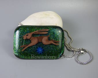 GAIA'S HARE Large Handmade Fused & Painted Glass - Leaping Hare Pendant Necklace