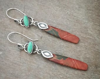 Jasper and turquoise dangle earrings - sterling silver earrings - long earrings