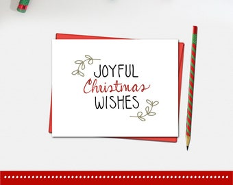 Christmas Card - Joyful Christmas Wishes Card - Christmas Card - Xmas Card