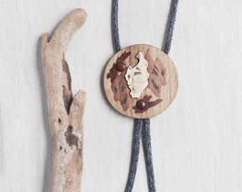 Vintage Wooden Mask Bolo Tie - artisan handmade round slide with 3 faces - gray fabric cord with wood tips