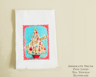 "Hostess Christmas Gift - Linen Tea Towel - Retro Hostess Gift - Christmas Party Gift - ""Joy to the World"" - Hostess Mid Century Kitchen"