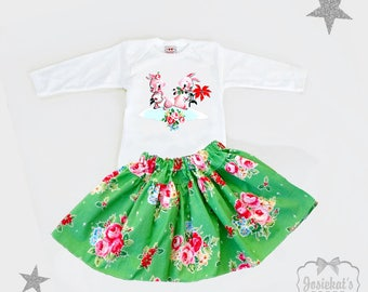 Girls Christmas Outfit - Skirt Christmas Toddler - Christmas Bunnies Floral - Vintage Rose Baby Skirt - Sibling Christmas Sister Outfit