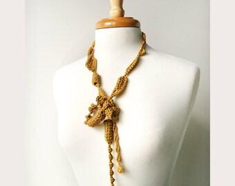 100% Silk Necklace, Fiber Art Jewelry, Yellow Gold Color, Textile Jewelry, Statement Necklace, Natural, Unusual, Boho, Elegant, Unique