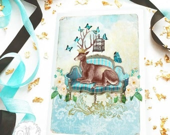 Deer card, deer on a French sofa, stag, antlers with butterflies and bird cage, birthday card, all occasion card, blank card