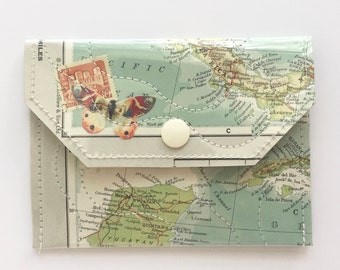 Vintage Map & Vinyl - Small Snap Wallet