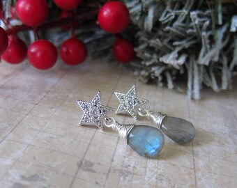 O Holy Night - Cubic Zirconia and Labradorite Holiday Star Earrings Christmas