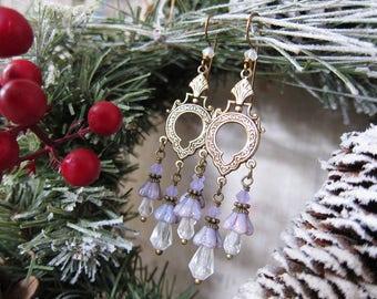 Sugar Plum Fairy - Soft Lavender Floral Chandelier Earrings