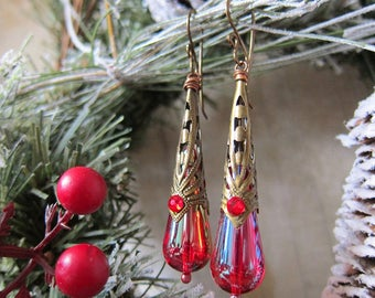 Holly - Iridescent Red Vintage Lucite Drop Earrings