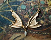 Vampire Lestat Bat Wing Necklace with Moonstone Spike