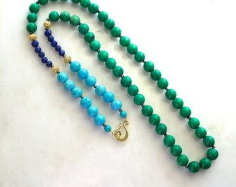 GLOW - Fabulous Green and Blue Turquoise, and Lapis Long Necklace...