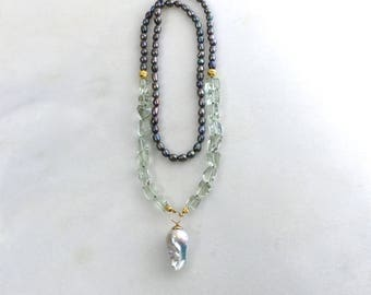 Huge MUSEUM Quality Flameball Baroque Pearl, Prasiolite Necklace in  Gold Vermeil....