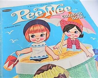 Vintage Pee Wee Dolls Color Book 1966 Kawaii Big Eye Gril Doll
