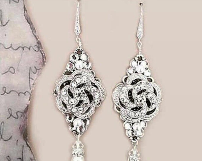 Statement Bridal Earrings Luxury Wedding Crystal Earrings Bohemian Art Deco Vintage Inspired Chandelier Earrings Gatsby Rose 1920s 30s Style