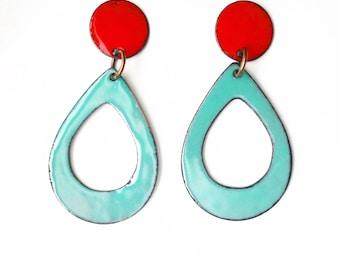 Twe and Aqua Enamel Stud Dangle Earrings