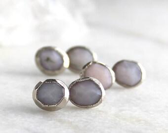 HUGE SALE opal earrings, opal studs, peruvian opal, pink opal, silver studs, rose cut, fancy cut, rose cut studs, peruvian opal earrings