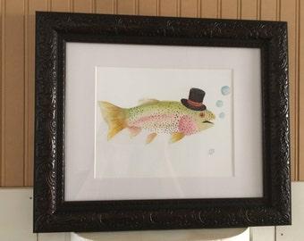 Rainbow Trout in a Top Hat 8 x 10 Original Art Print