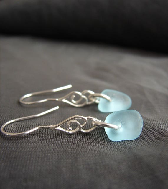 Whitecap sea glass earrings in aqua