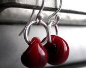 Tiny Dark Oxblood Red Glass Bead Earrings, Small Blood Red Glass Drop Earrings, Sterling Silver, Simple Minimal Minimalist Modern Jewelry