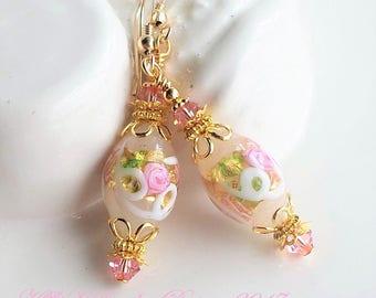 Murano Glass Earrings, Venetian Glass Earrings, White Pink Murano Earrings, Gold Earrings, Wedding Cake Glass Earrings, Pink Flower Earrings