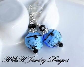 Lampwork Earrings, Eagle Lampwork Earrings, Glass Bird Earrings, Blue Lampwork Earrings, Black Lampwork Earrings, Silver Earrings, Silver