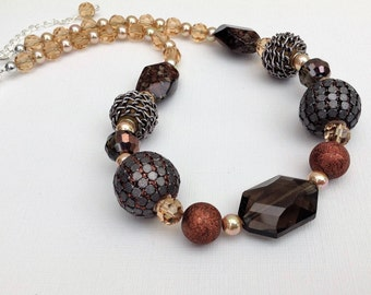 Brown Necklace in Fall Colours, Chunky Necklace, Brown Beaded Necklace, Jewlery Gift For Her,  Autumn Theme Necklace, Statement Necklace