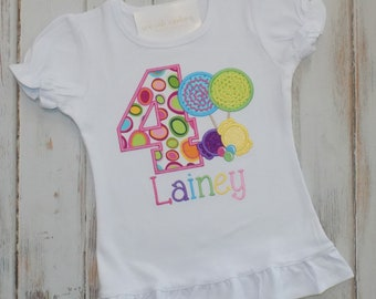 Candyland birthday shirt, Candy Birthday shirt, Lollipop Birthday shirt, Girl Birthday shirt, ruffle shirt, puff sleeve, sew cute creations