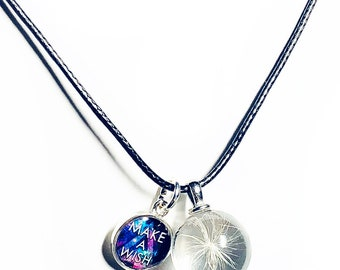 Real Dandelion Necklace, Wish Necklace, Good Luck Charm. Make a Wish, Real dandelion seed in glass, Black Leather Necklace and Charms