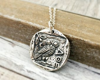 Athena Owl necklace - Greek mythology jewelry - sterling silver ancient coin replica - inspirational gift for her