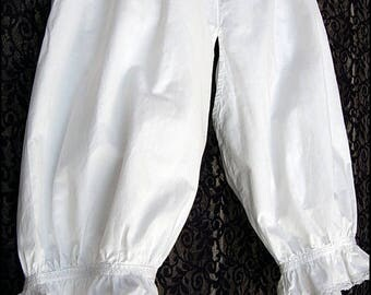 Lovely 1800s Antique French Victorian Bloomers - White Cotton - Handmade Lace + Embroidery - Open crotch - Wearable Size & Condition!