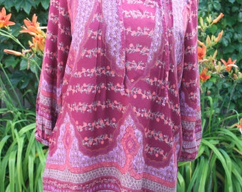 Pink India print cotton blouse shirt boho hippie Deadstock small medium