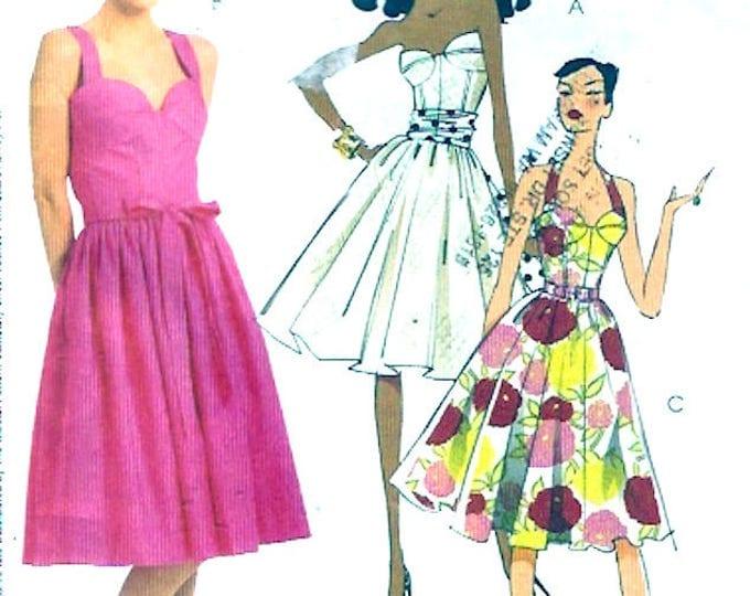 Designer Halter dress Laura Ashley Summer bridesmaid pinup sewing pattern McCalls 5580 Bust 36 to 42