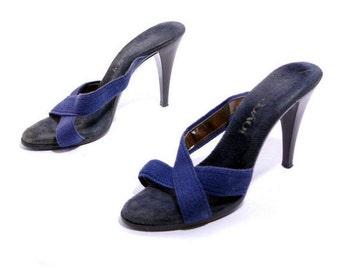 Size 9// Vintage 70s Blue Fabric Mules// Summer Mules// Strap Mules// Terri Cloth Fabric Mules// 205