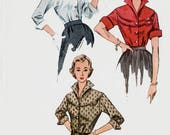 Vintage 1950s Round Yoked Glam Blouse Wing Collar & Cuff Sewing Pattern Simplicity3700 50s Rockabilly Pattern 14 Bust 32