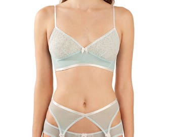 Natalie blue and white knickers - retro light pale pastel blue underwear undies panties in spandex mesh with white ivory french lace trim.