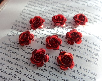 Red Anodized Aluminum Rose Cabochons- 15mm Red Rose Metal Bead with Hole- Lot of 40