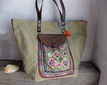 Recycled Army Bag, Khaki Embroidered Bag, Khaki Shopping Bag, Up cycled Army Bag, Shoulder Bag, Leather Canvas Bag, Boho Bag, Old Tarp Bag