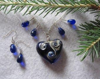 Lampwork Heart Necklace ~ Cobalt Blue Jewelry Set ~ Sterling Silver Lampwork Heart Necklace ~ Cobalt Blue Earrings  ~ Lampwork Jewelry Set