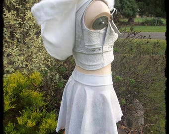 White Snow Festival Skirt, Top and Harness Set, Size Small - Ready to Ship - Faux Fur Hood Holo Rave Cosplay Burning Man Bunny Cyber