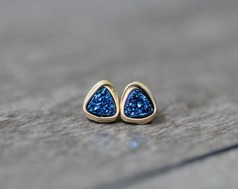 Tiny Druzy Studs , Post Earrings , Gold , Sterling Silver , Rose Gold , Small Blue Triangle Geometric Minimalist Fashion - Micros