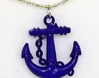 Blue Patriotic Anchor Necklace