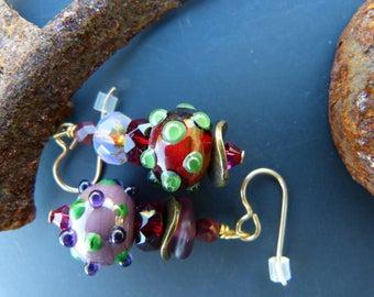 Garnet and Purple Asymmetrical Lampwork Earrings