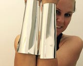 SALE 7.5 inch extra long Wonder Woman style silver cuff bracers cosplay accessory tapered